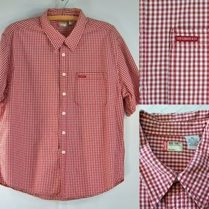 Mens XL Levis Red Tab Red White Check Shirt SS